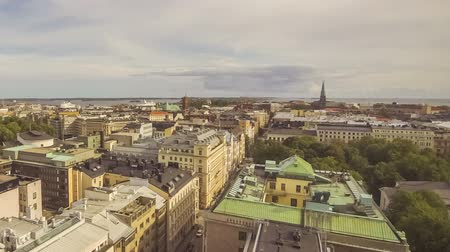 Panoramic aerial view of Helsinki city, capital of Finland. Time Lapse. FullHD video Стоковые видеозаписи
