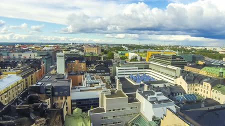 Panoramic aerial view of Helsinki city, capital of Finland. Time Lapse. FullHD video Stok Video