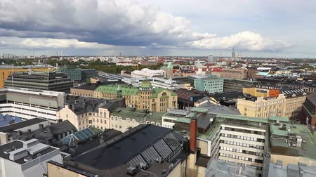 Panoramic aerial view of Helsinki city, capital of Finland. FullHD video
