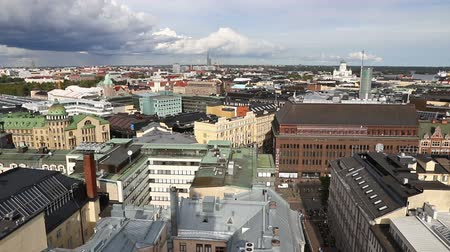nordic countries : Panoramic aerial view of Helsinki city, capital of Finland. FullHD video