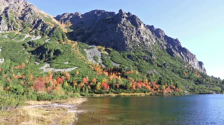 Early autumn on Popradske pleso lake in High Tatras Mountains (Vysoke Tatry), Slovakia. Panoramic FullHD scene footage Стоковые видеозаписи