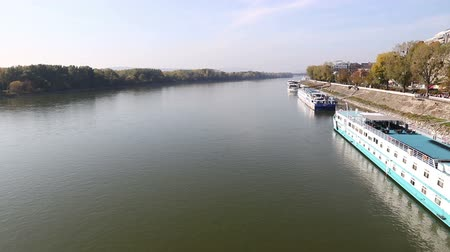 Panoramic view of Danube river in Bratislava, Slovakia. Bratislava Castle building on the right