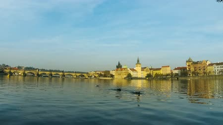 Panorama of Prague Old Town with famous Charles bridge and Vltava river enbankment, Czech Republic. View from viwpoint on Strelecky island. Time Lapse. FullHD video Стоковые видеозаписи