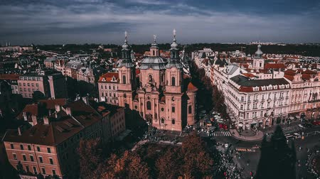 namesti : Aerial view of Saint Nicholas Church (Czech: Kostel Svateho Mikulase) and Old Town Square (Staromestske namesti) in Prague city, Czech Republic. Time Lapse. FullHD video