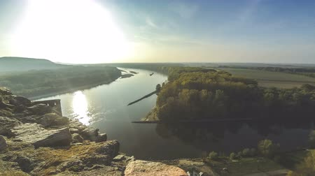 Confluence of Danube and Morava rivers. View from Devin Castle near Bratislava, Slovakia on the border with Austria. Time Lapse. 4K UltraHD video