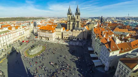 Aerial view of the Old Town Square (Staromestske namesti or Staromak), historic square in the Old Town quarter of Prague, the capital of the Czech Republic. Time Lapse. 4K UltraHD video