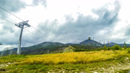 Cable lift to Skalnate pleso (1751m) in High Tatras Mountains (Vysoke Tatry), Slovakia. Time Lapse. 4K UltraHD video