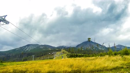 Cable lift to Skalnate pleso (1751m) in High Tatras Mountains (Vysoke Tatry), Slovakia. Time Lapse. FullHD video