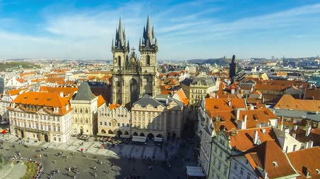 Aerial view of the Old Town Square (Staromestske namesti or Staromak), historic square in the Old Town quarter of Prague, the capital of the Czech Republic. Time Lapse. FullHD video Стоковые видеозаписи