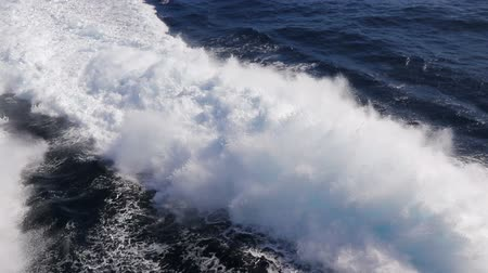 Water trail foaming behind a ferry boat in Atlantic ocean between Canary islands, Spain. FullHD video