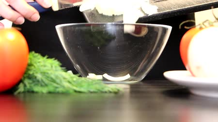 bıçaklar : ingredients are putting in a bowl Stok Video