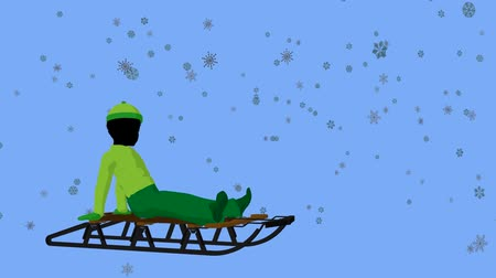 luge : African american boy on a sled in the snow on a blue background