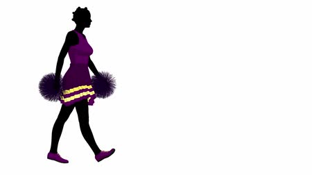 ralli : African american female cheerleader walking on a white background