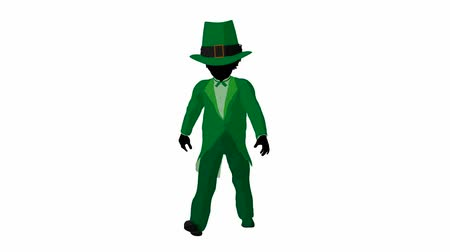 gal : African american leprechaun girl walking on a white background
