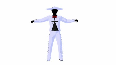 karikatura : African american male mariachi illustration silhouette illustration on a white background