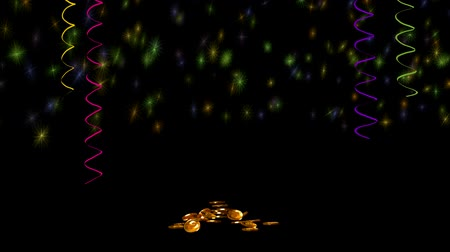 karikatura : Gold coins on a black background
