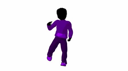 kalça : African american teen urban male dressed in casual clothes dancing on a white background