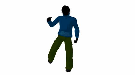 karikatura : Urban male dressed in casual clothes dancing on a white background
