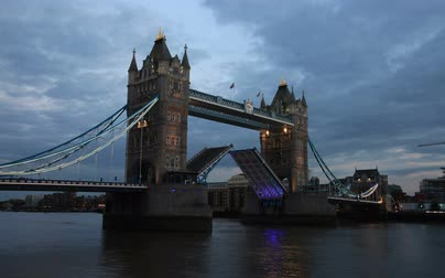 tower bridge : 2K Tower Bridge In London Opening For Passing Boats Underneath