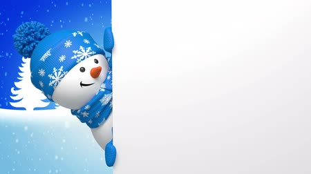 New year snowman animated greeting card, 3d cartoon character