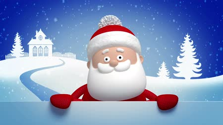 Santa Claus animated greeting card, 3d cartoon character