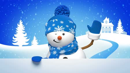 snowman animated greeting card, 3d cartoon character