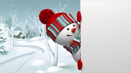 kardan adam : Snowman peeking out the corner, animated greeting card, winter holiday background, Merry Christmas and a Happy New Year