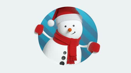 kardan adam : funny 3d snowman looking out the round window, Christmas holiday background, animated greeting card