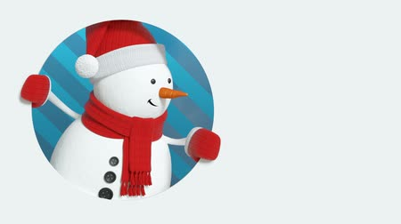 forma tridimensional : animated snowman greeting card, Christmas background