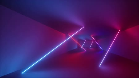canto : 3d render, abstract background, fluorescent ultraviolet light, glowing neon lines rotating inside tunnel, blue red pink purple spectrum, rectangular frames spinning around, looped animation Stock Footage
