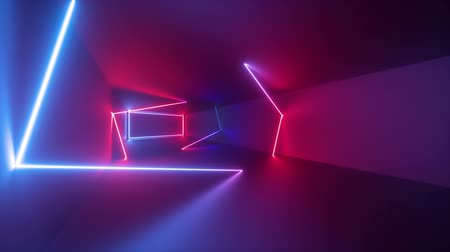 négyszögletes : 3d render, abstract geometric background, fluorescent ultraviolet light, glowing neon lines rotating inside tunnel, blue red pink purple spectrum, spinning around, modern colorful illumination Stock mozgókép
