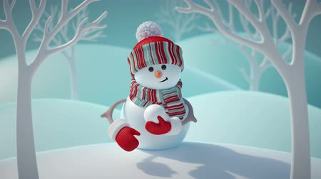 menta : 3d render, cute funny snowman wearing red hat and scarf, throwing snowball, standing in snowy forest, winter Christmas background, New Year greeting card, festive character, blank space for text