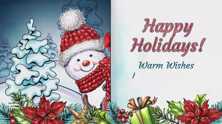 calligraphic : Happy Holidays animated text,  Christmas background, snowman holding greeting card, calligraphy, lettering