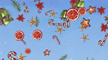 shabby : Christmas holiday background, sweets, treat, stars, cookies, falling ornaments, gift rain, snowfall