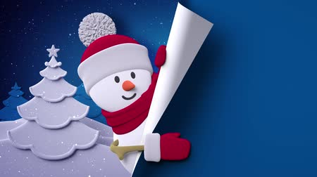 happy holidays : Christmas blue background, cartoon snowman, paper texture, Christmas tree, blank template, page curl Stock Footage