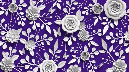 quilling : 3d rendering, loop animation, floral background, rotating paper flowers, botanical pattern, paper craft, ultra violet .