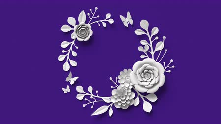 save the animals : 3d rendering, growing paper floral wreath, botanical background, blooming paper flowers, round frame, blank greeting card, violet.