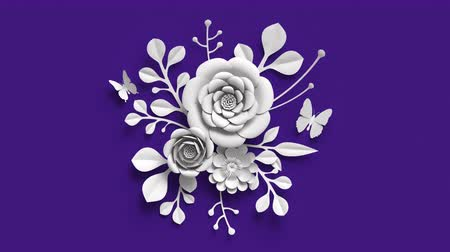 színárnyalat : 3d rendering, growing floral background, paper flowers appearing, botanical pattern, bridal round bouquet, paper craft, ultra violet.