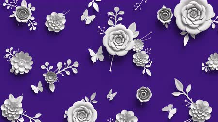 insects isolated : 3d rendering, animation of growing flowers, floral background, blooming paper flowers, botanical pattern, paper craft, violet.