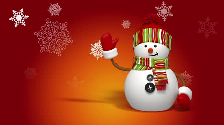 Cute animated Christmas snowman greeting card, red background, falling snow.