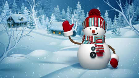 Christmas snowman, greeting card, winter landscape, village, silent night, holiday background, animated 3d cartoon character