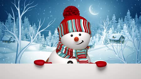 off : Christmas snowman appearing, Winter Holiday greeting card, animated 3d cartoon character, rural landscape, holiday background, alpha channel