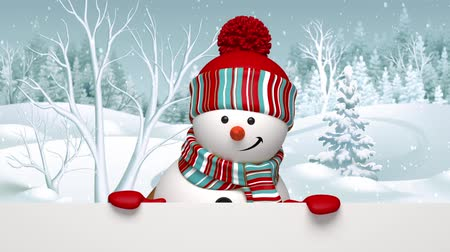 kar taneleri : Snowman appearing, peeking out, animated greeting card, winter holiday background, Merry Christmas and a Happy New Year, alpha channel Stok Video