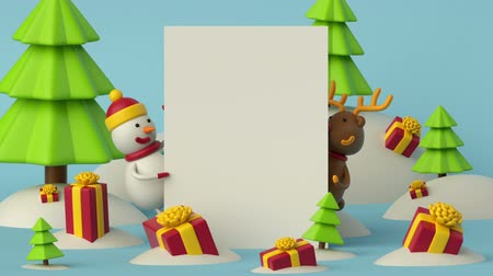 alce : 3d cartoon animation, happy new year greeting card, white paper, blank banner, gifts, winter forest landscape, snowman, deer, holiday background Vídeos