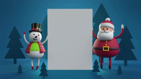 kalap : 3d cartoon animation, happy new year greeting card, forest landscape, snowman, Santa Claus, blank banner, white paper page, blue holiday background