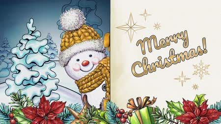 kalap : hand painted cartoon snowman, Merry Christmas animated greeting card, written text