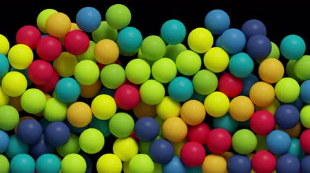 niebieski : 3d render, colorful balls jumping, filling blank space, kids toys, playground, abstract background.