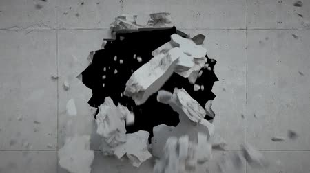 lasca : 3d render, breaking wall, hole, concrete, destruction, fragments falling, blowing