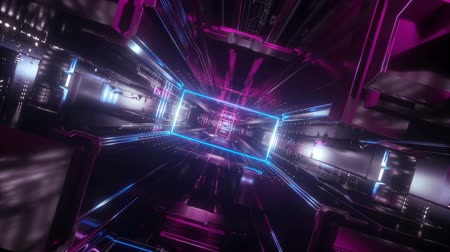 urdidura : 3d render, abstract urban virtual reality tunnel. Futuristic motion graphic. Purple and blue neon light glow, geometric construction. Drone fast fly away. Loop