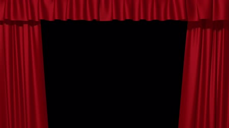 teatral : 3d red curtains opening, stage performance, isolated on black background, alpha channel Stock Footage